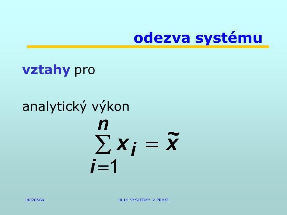 140206GKUL14 VÝSLEDKY V PRAXI odezva systému vztahy pro analytický výkon