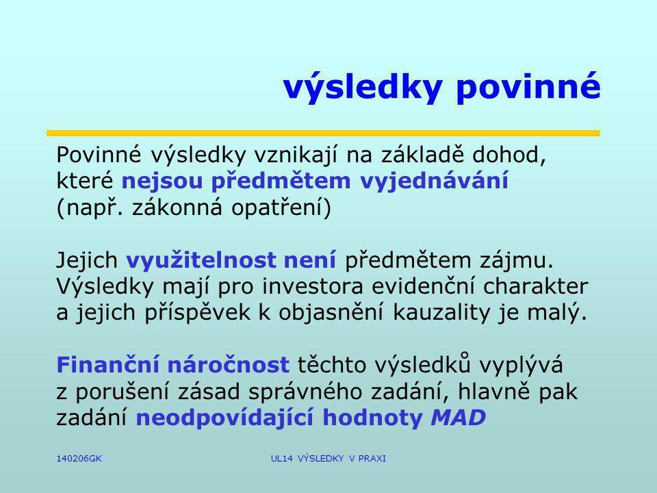 140206GKUL14 VÝSLEDKY V PRAXI výsledky povinné Povinné výsledky vznikají na základě dohod, které nejsou předmětem vyjednávání (např.