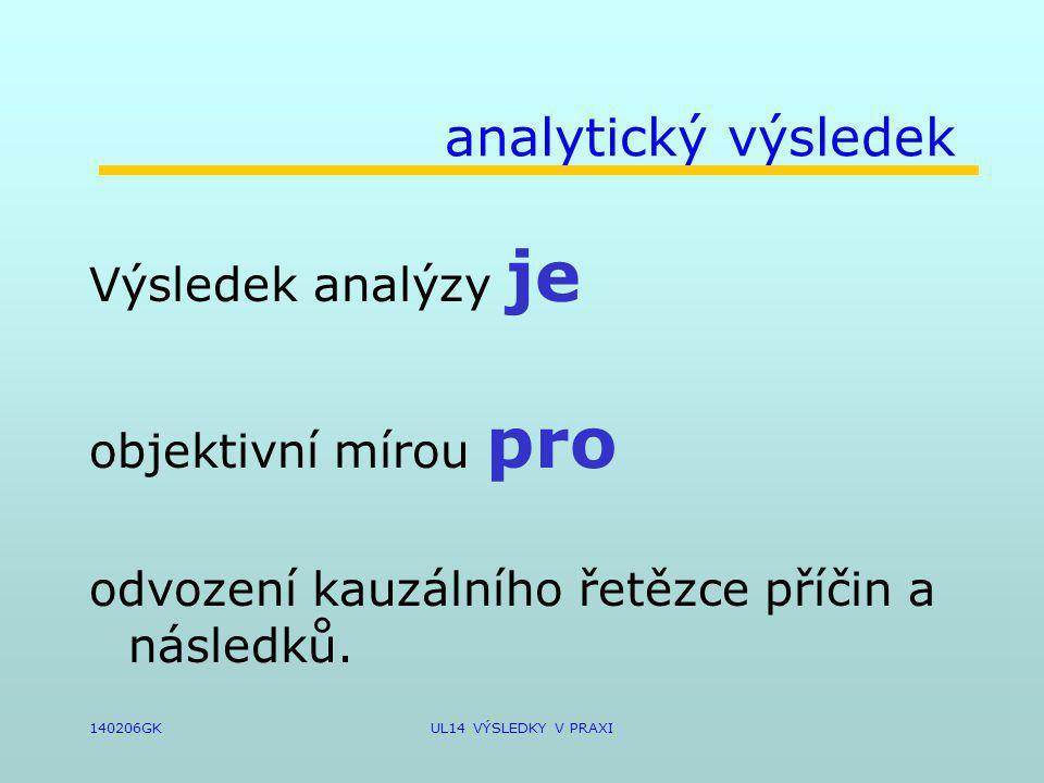 140206GKUL14 VÝSLEDKY V PRAXI analytický výsledek Výsledek analýzy je objektivní mírou pro odvození kauzálního řetězce příčin a následků.