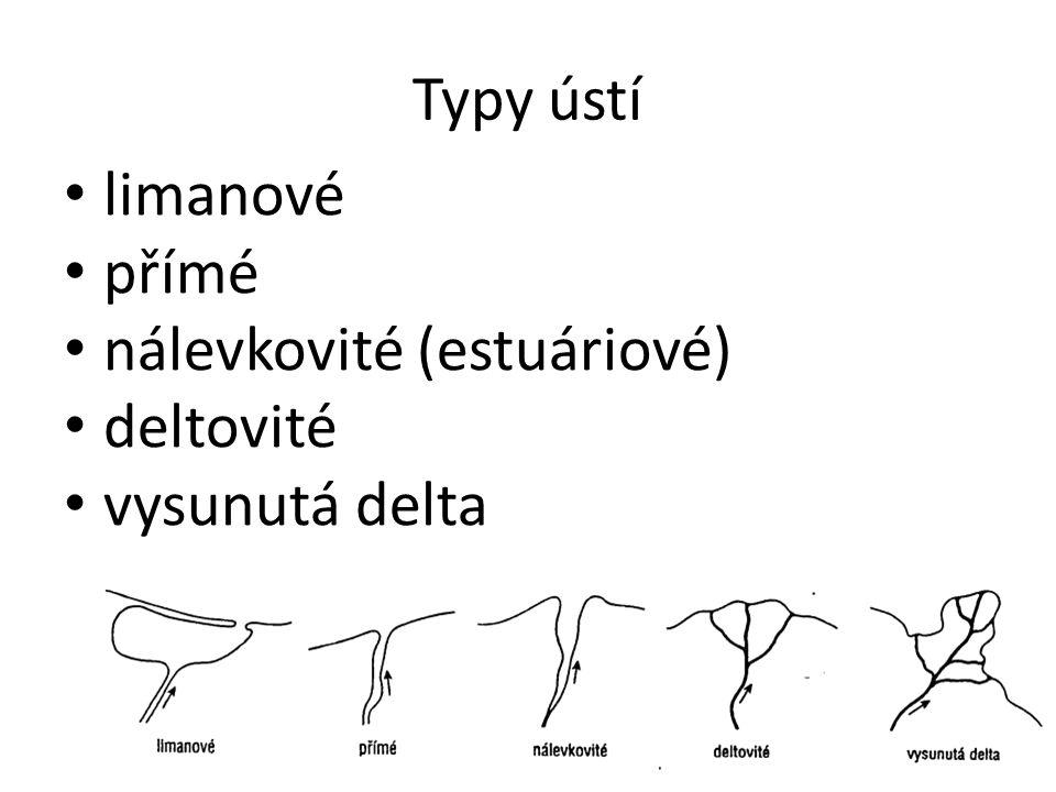 Typy ústí limanové přímé nálevkovité (estuáriové) deltovité vysunutá delta