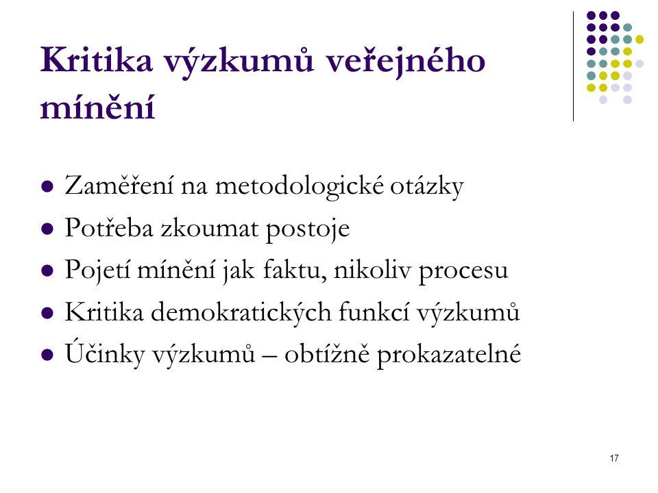 17 Kritika výzkumů veřejného mínění Zaměření na metodologické otázky Potřeba zkoumat postoje Pojetí mínění jak faktu, nikoliv procesu Kritika demokratických funkcí výzkumů Účinky výzkumů – obtížně prokazatelné