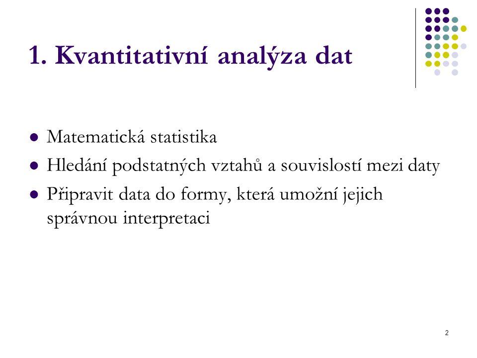 2 1. Kvantitativní analýza dat Matematická statistika Hledání podstatných vztahů a souvislostí mezi daty Připravit data do formy, která umožní jejich