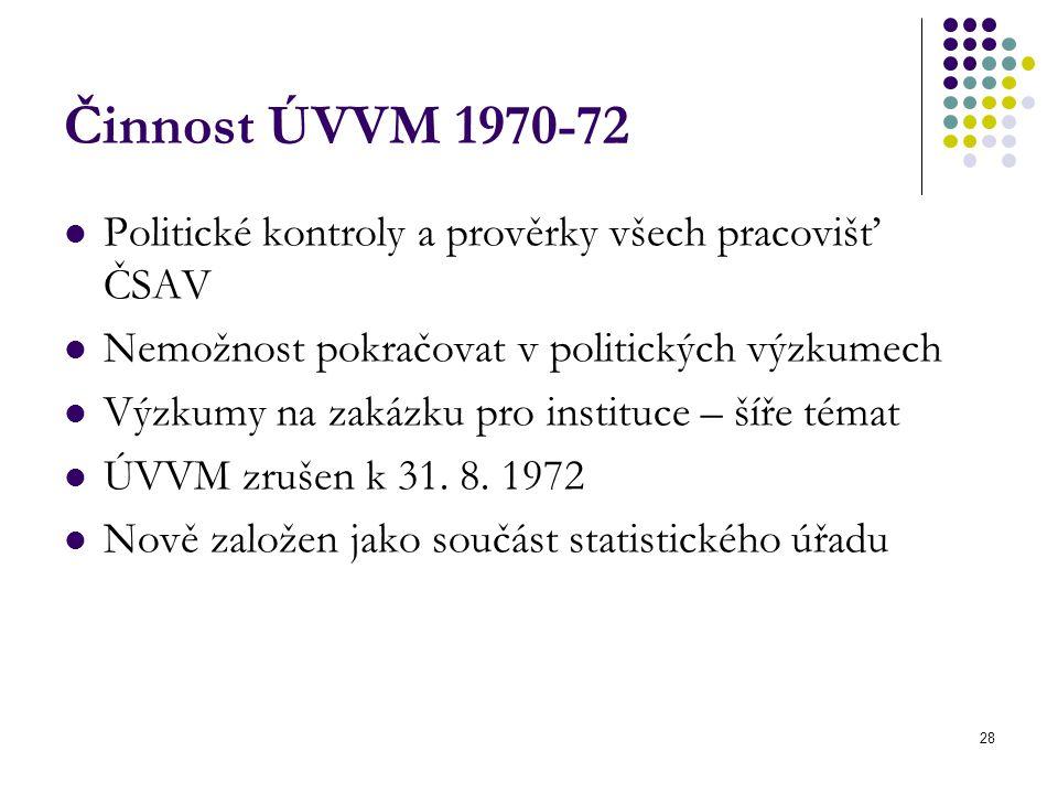 28 Činnost ÚVVM 1970-72 Politické kontroly a prověrky všech pracovišť ČSAV Nemožnost pokračovat v politických výzkumech Výzkumy na zakázku pro instituce – šíře témat ÚVVM zrušen k 31.