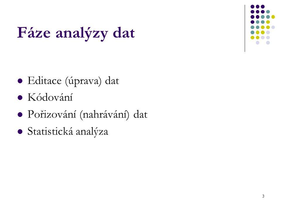 3 Fáze analýzy dat Editace (úprava) dat Kódování Pořizování (nahrávání) dat Statistická analýza