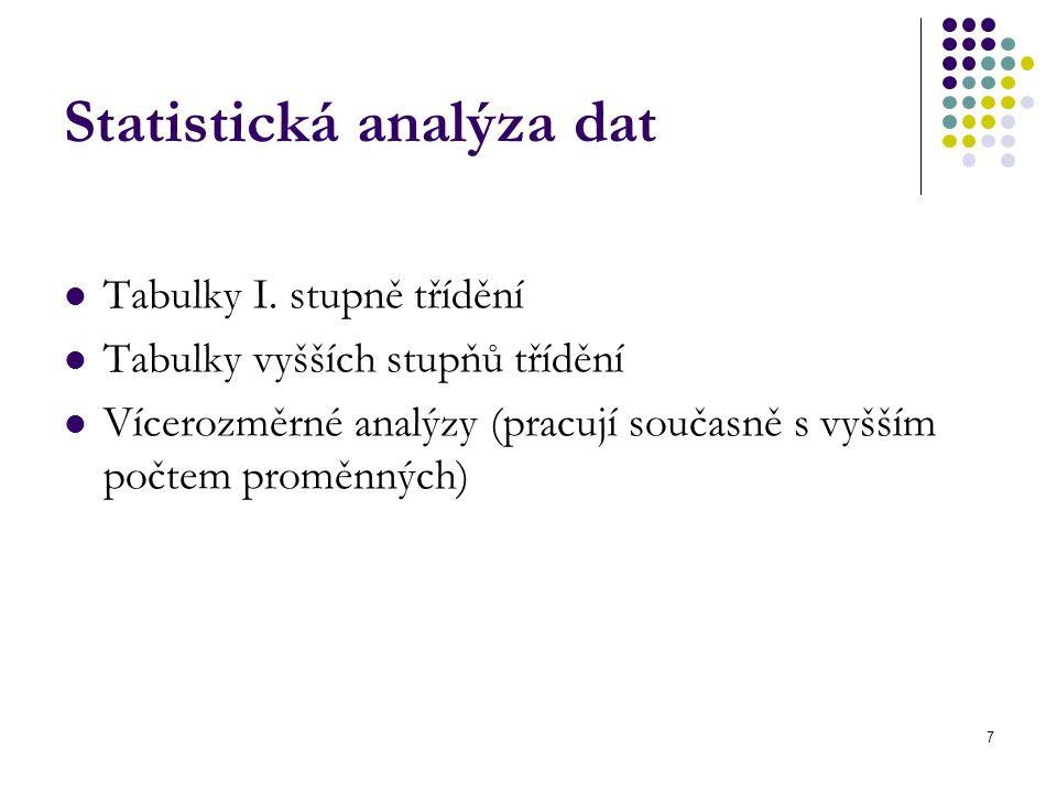 7 Statistická analýza dat Tabulky I. stupně třídění Tabulky vyšších stupňů třídění Vícerozměrné analýzy (pracují současně s vyšším počtem proměnných)