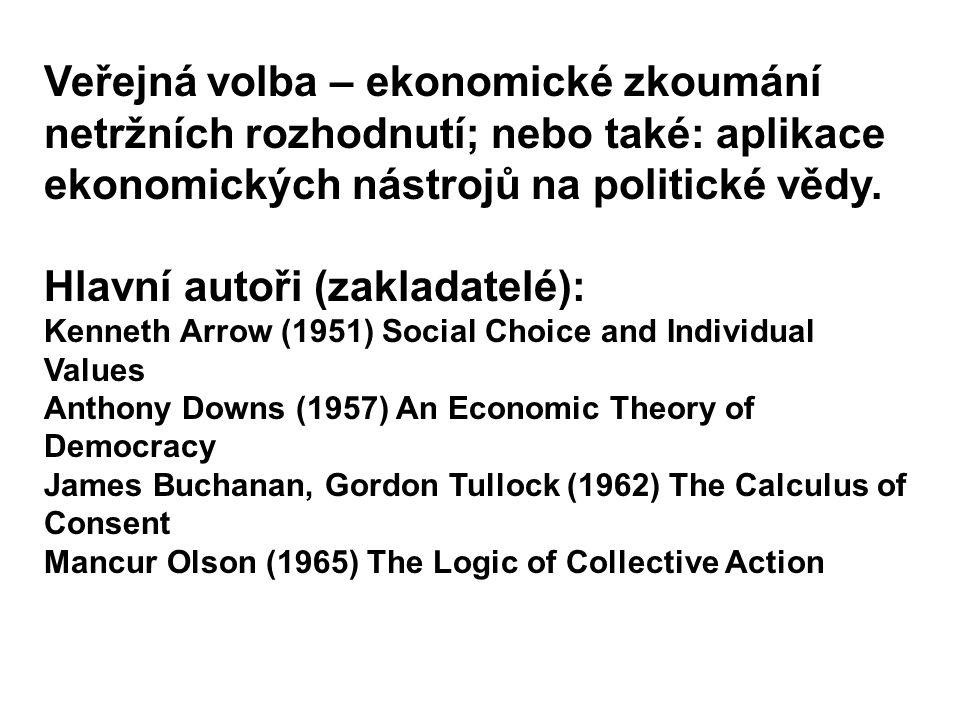 Veřejná volba – ekonomické zkoumání netržních rozhodnutí; nebo také: aplikace ekonomických nástrojů na politické vědy. Hlavní autoři (zakladatelé): Ke