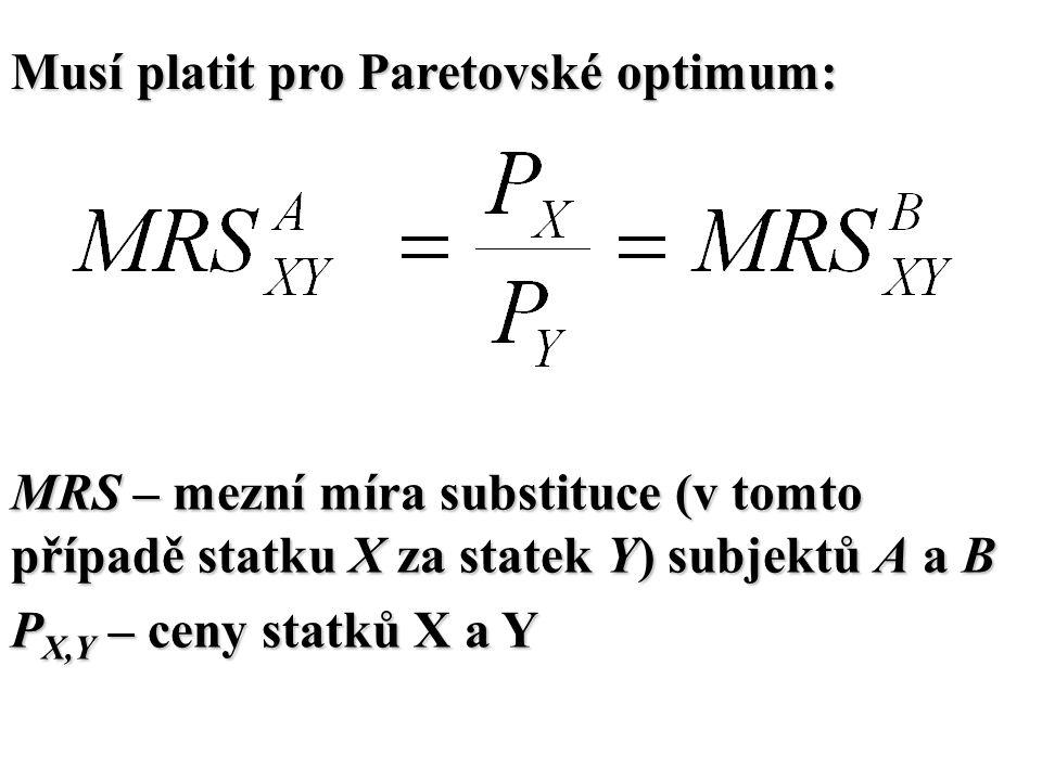 Musí platit pro Paretovské optimum: MRS – mezní míra substituce (v tomto případě statku X za statek Y) subjektů A a B P X,Y – ceny statků X a Y