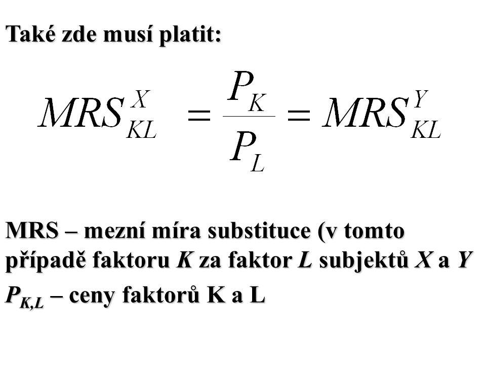 Také zde musí platit: MRS – mezní míra substituce (v tomto případě faktoru K za faktor L subjektů X a Y P K,L – ceny faktorů K a L