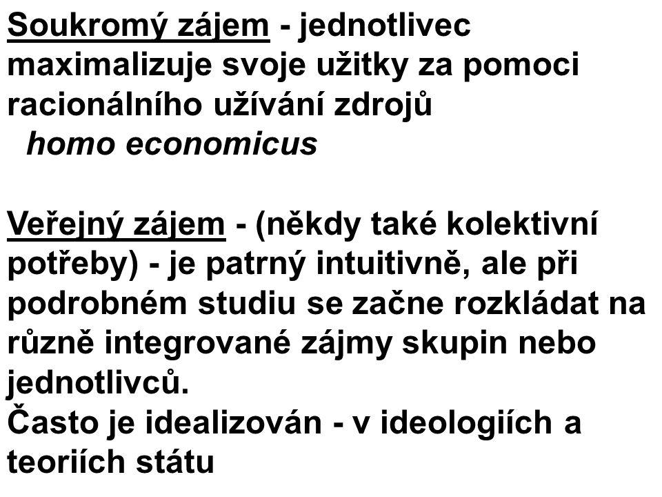 Soukromý zájem - jednotlivec maximalizuje svoje užitky za pomoci racionálního užívání zdrojů homo economicus Veřejný zájem - (někdy také kolektivní po