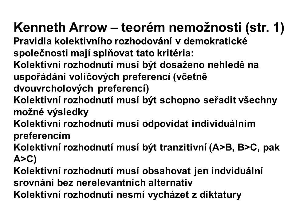 Kenneth Arrow – teorém nemožnosti (str. 1) Pravidla kolektivního rozhodování v demokratické společnosti mají splňovat tato kritéria: Kolektivní rozhod