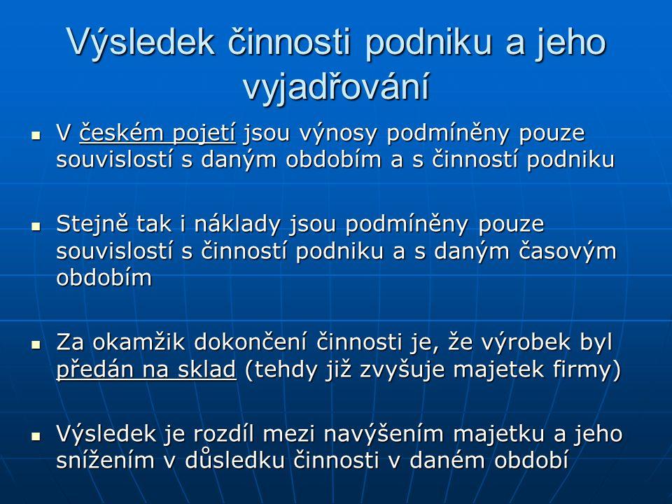 Výsledek činnosti podniku a jeho vyjadřování V českém pojetí jsou výnosy podmíněny pouze souvislostí s daným obdobím a s činností podniku V českém poj
