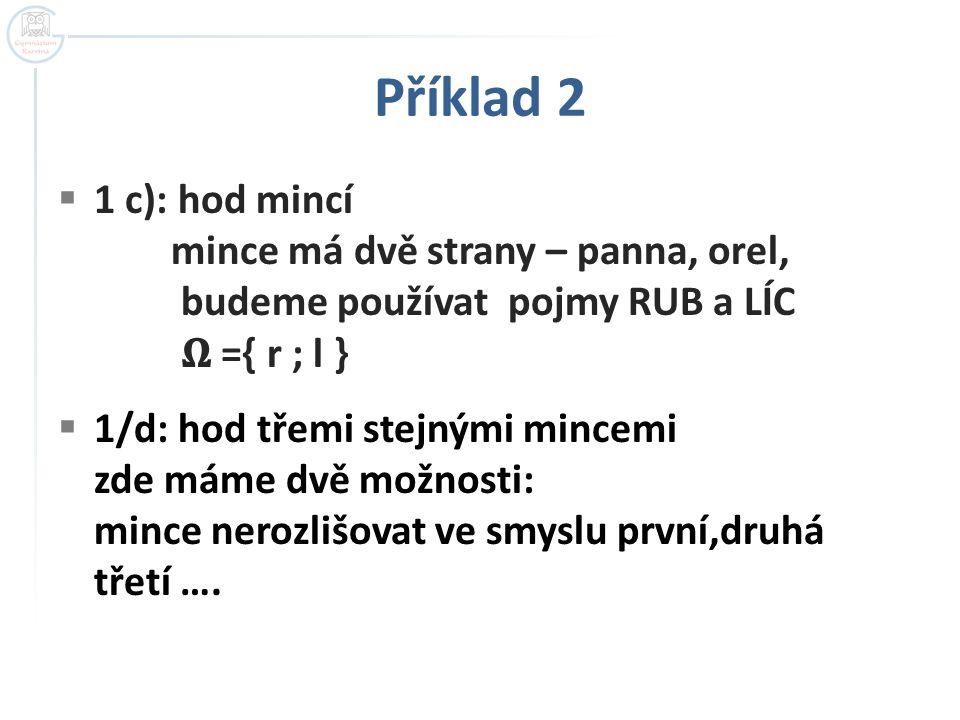 Příklad 2  1 c): hod mincí mince má dvě strany – panna, orel, budeme používat pojmy RUB a LÍC ={ r ; l }  1/d: hod třemi stejnými mincemi zde máme dvě možnosti: mince nerozlišovat ve smyslu první,druhá třetí ….