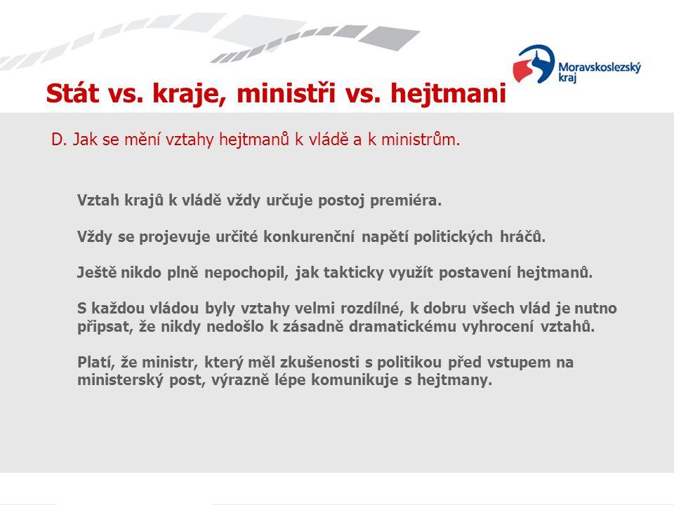 Stát vs. kraje, ministři vs. hejtmani D. Jak se mění vztahy hejtmanů k vládě a k ministrům.