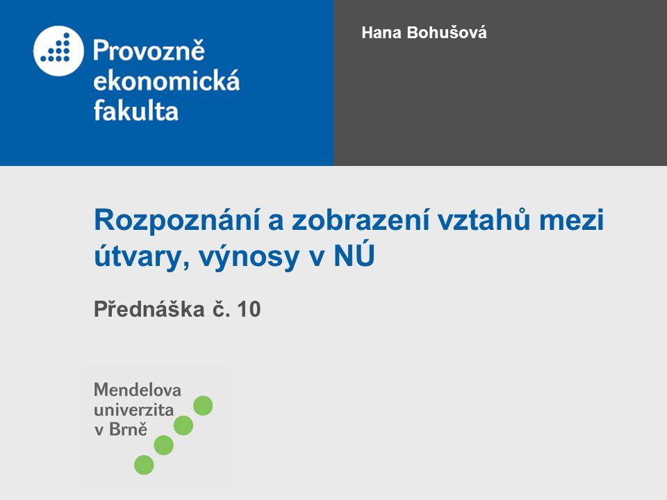 Rozpoznání a zobrazení vztahů mezi útvary, výnosy v NÚ Přednáška č. 10 Hana Bohušová