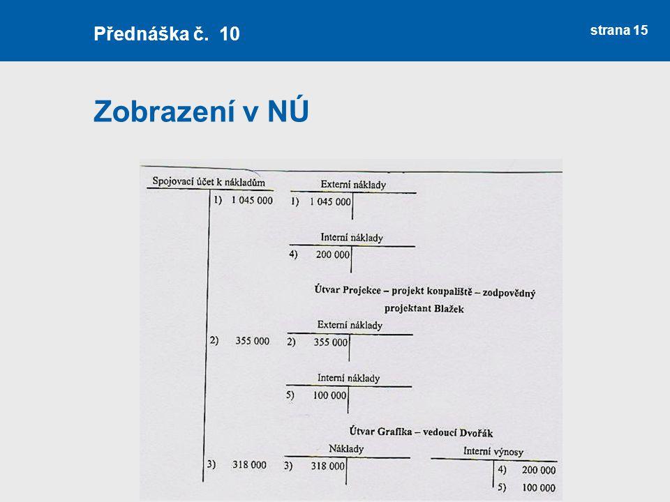 Zobrazení v NÚ strana 15 Přednáška č. 10