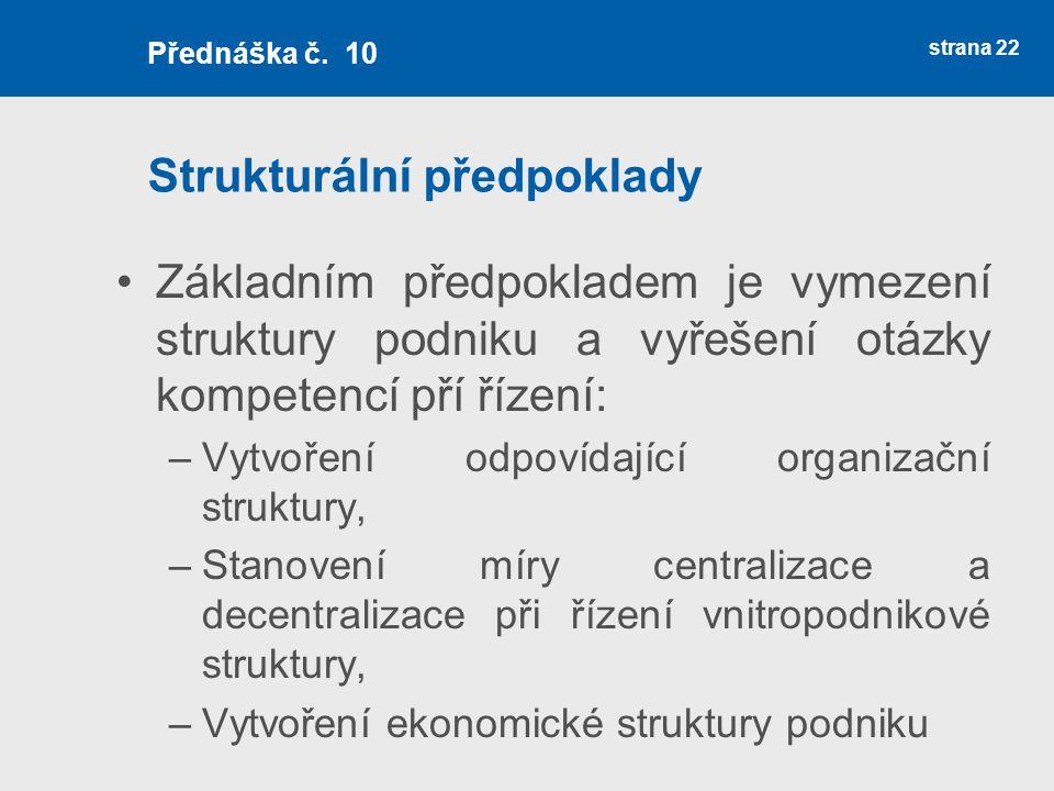 Strukturální předpoklady Základním předpokladem je vymezení struktury podniku a vyřešení otázky kompetencí pří řízení: –Vytvoření odpovídající organiz