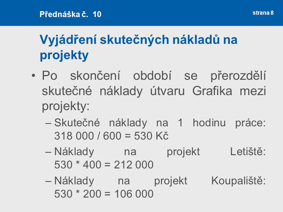 Vyjádření skutečných nákladů na projekty Po skončení období se přerozdělí skutečné náklady útvaru Grafika mezi projekty: –Skutečné náklady na 1 hodinu