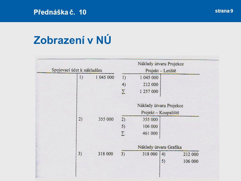 Zobrazení v NÚ strana 9 Přednáška č. 10