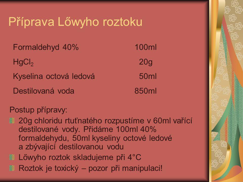 Použití Lőwyho roztoku 1.Materiál se vkládá do tohoto roztoku již při odběru na oddělení 2.Je nutné, aby byl uveden přesný čas vložení tkáně do Lőwyho roztoku 3.Doba fixace a odvápnění se pohybuje mezi 20-24 hodinami