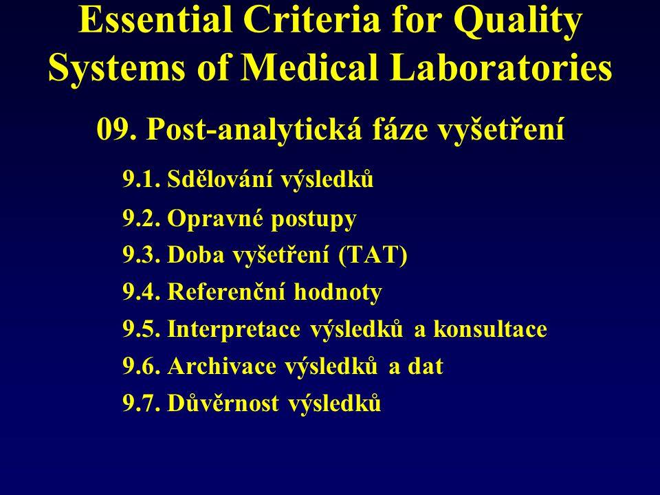 Essential Criteria for Quality Systems of Medical Laboratories 09. Post-analytická fáze vyšetření 9.1. Sdělování výsledků 9.2. Opravné postupy 9.3. Do