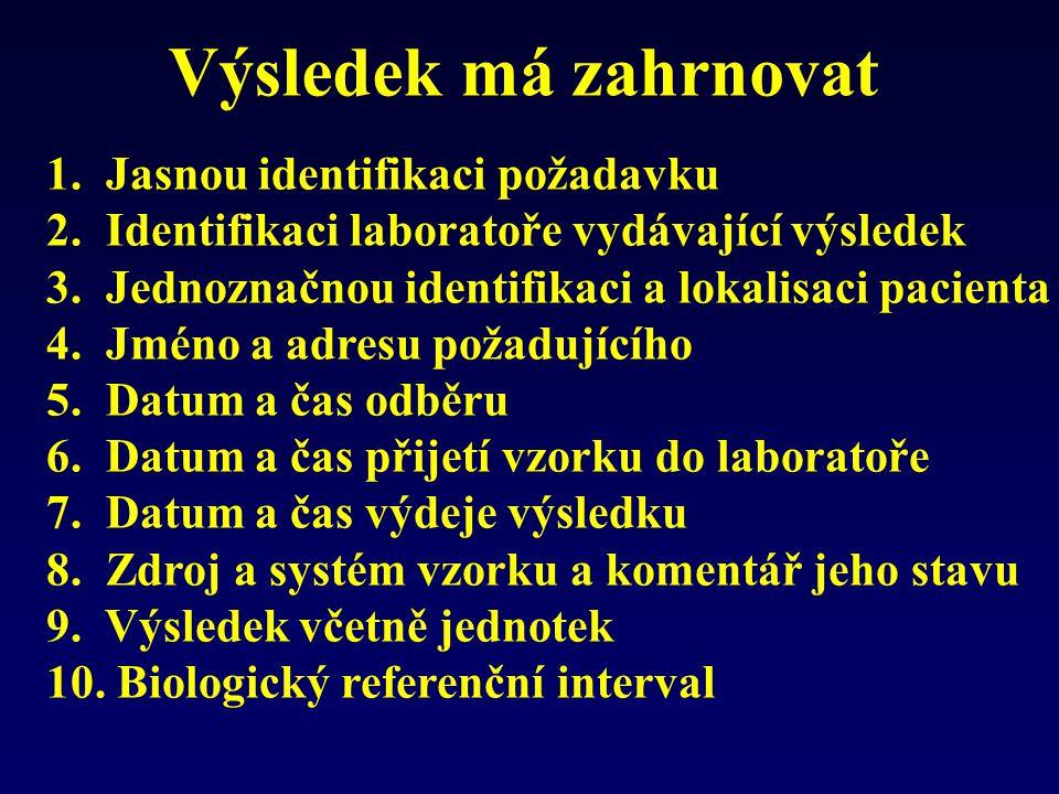 Výsledek má zahrnovat 1. Jasnou identifikaci požadavku 2. Identifikaci laboratoře vydávající výsledek 3. Jednoznačnou identifikaci a lokalisaci pacien