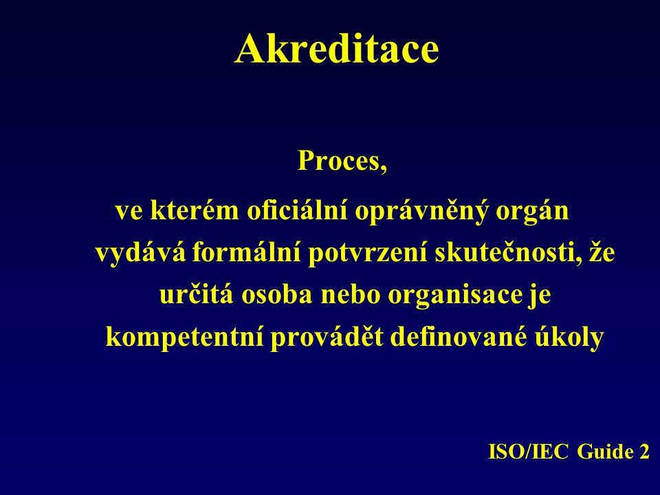 Akreditace Proces, ve kterém oficiální oprávněný orgán vydává formální potvrzení skutečnosti, že určitá osoba nebo organisace je kompetentní provádět definované úkoly ISO/IEC Guide 2