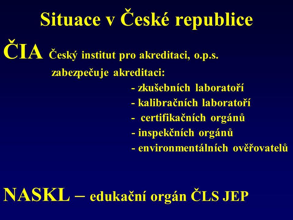 Situace v České republice ČIA Český institut pro akreditaci, o.p.s. zabezpečuje akreditaci: - zkušebních laboratoří - kalibračních laboratoří - certif