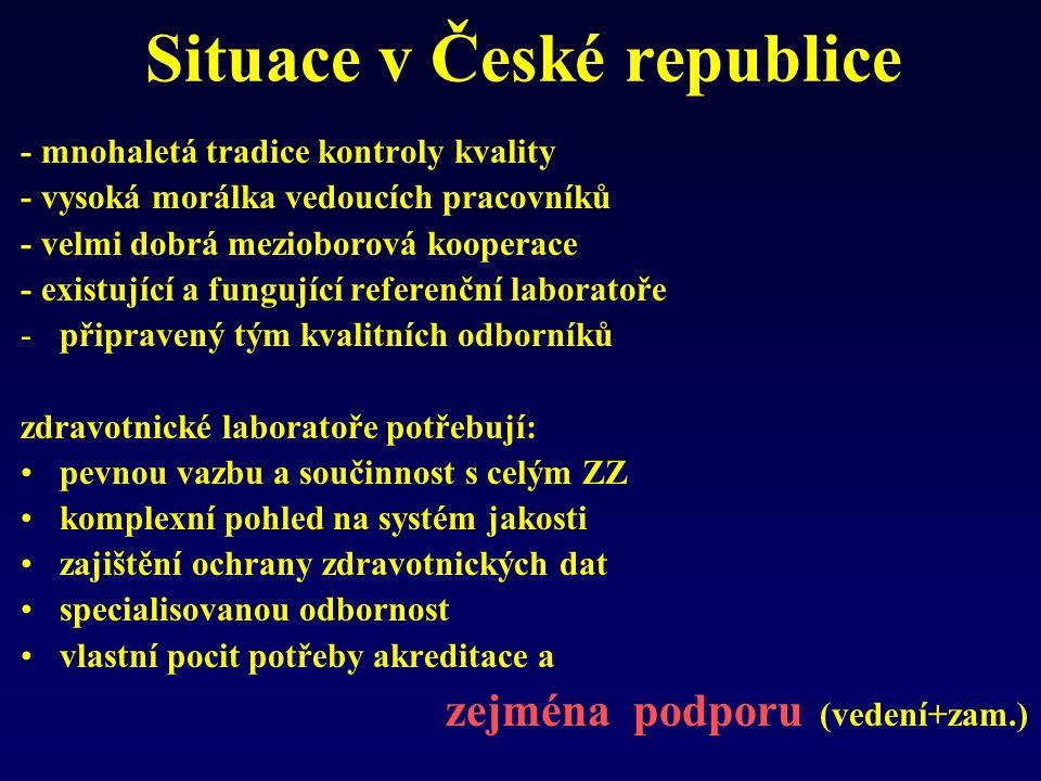 Situace v České republice - mnohaletá tradice kontroly kvality - vysoká morálka vedoucích pracovníků - velmi dobrá mezioborová kooperace - existující