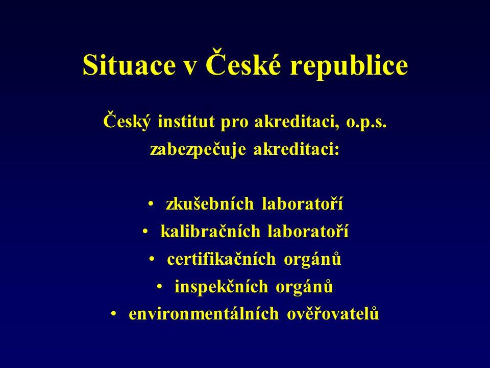 Situace v České republice Český institut pro akreditaci, o.p.s. zabezpečuje akreditaci: zkušebních laboratoří kalibračních laboratoří certifikačních o