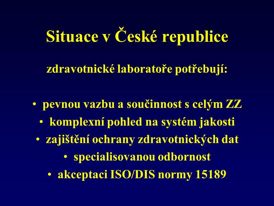 Situace v České republice zdravotnické laboratoře potřebují: pevnou vazbu a součinnost s celým ZZ komplexní pohled na systém jakosti zajištění ochrany