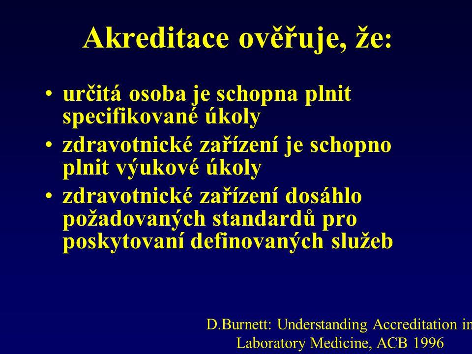 Akreditace ověřuje, že : určitá osoba je schopna plnit specifikované úkoly zdravotnické zařízení je schopno plnit výukové úkoly zdravotnické zařízení dosáhlo požadovaných standardů pro poskytovaní definovaných služeb D.Burnett: Understanding Accreditation in Laboratory Medicine, ACB 1996