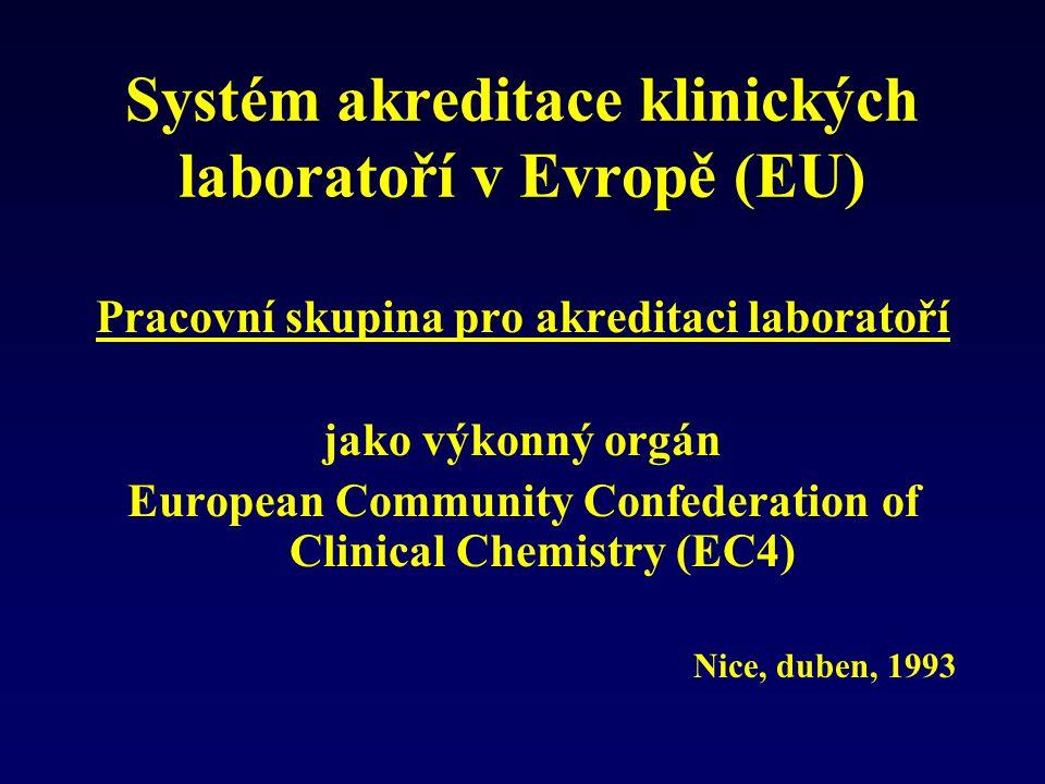 Systém akreditace klinických laboratoří v Evropě (EU) Pracovní skupina pro akreditaci laboratoří jako výkonný orgán European Community Confederation o