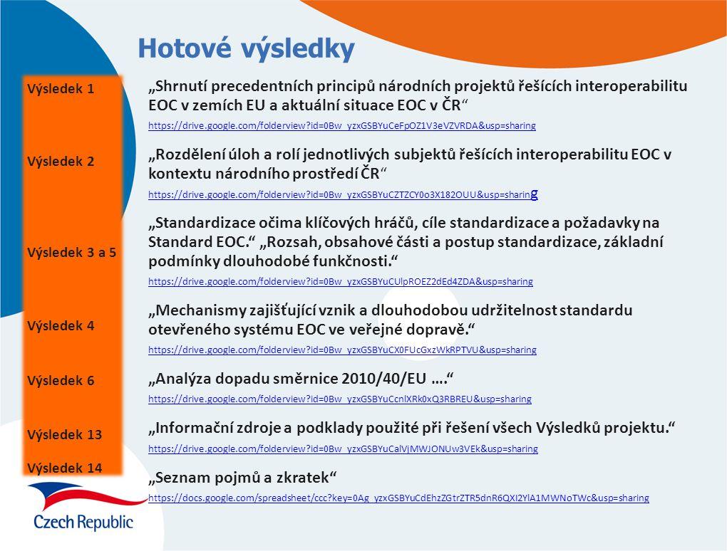 Standard, Standard EOC Otevřená specifikace konkrétně popisující způsob vzájemného propojení systémů EOC na bázi BČK (bezkontaktních čipových médií) v ČR, později na bázi dalších médií.