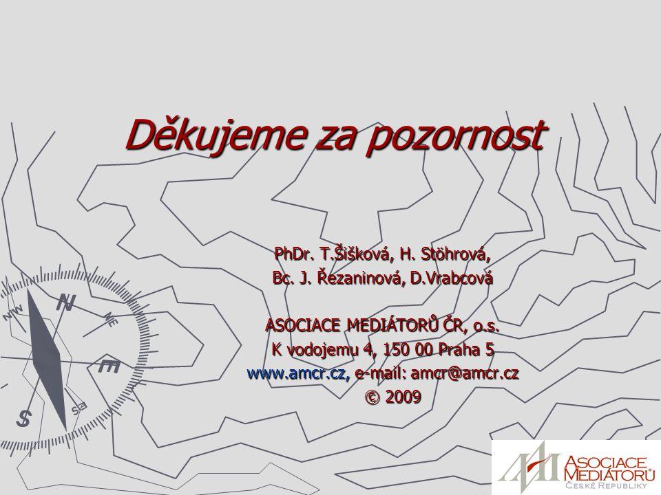 Děkujeme za pozornost PhDr. T.Šišková, H. Stöhrová, Bc. J. Řezaninová, D.Vrabcová ASOCIACE MEDIÁTORŮ ČR, o.s. K vodojemu 4, 150 00 Praha 5 www.amcr.cz