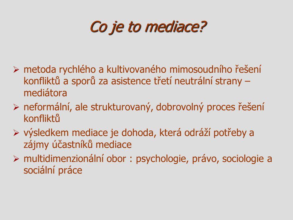 Co je to mediace?   metoda rychlého a kultivovaného mimosoudního řešení konfliktů a sporů za asistence třetí neutrální strany – mediátora   neform