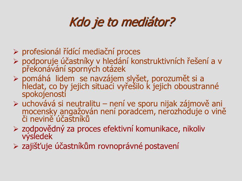 Kdo je to mediátor?   profesionál řídící mediační proces   podporuje účastníky v hledání konstruktivních řešení a v překonávání sporných otázek 