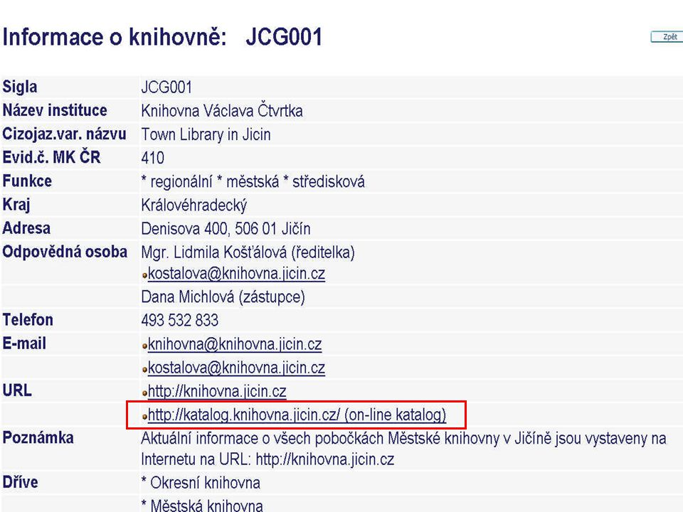 Školení KKFB Zlín, 7.2.2007 Propojení do Adresáře