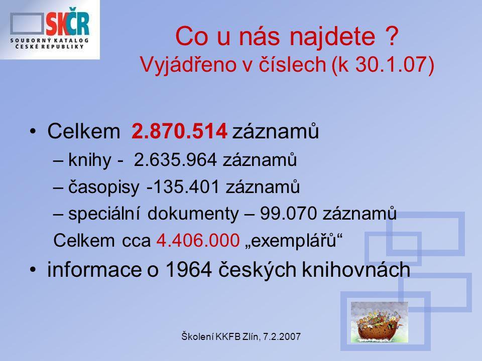 Školení KKFB Zlín, 7.2.2007 Co u nás najdete .