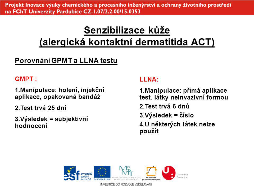 Senzibilizace kůže (alergická kontaktní dermatitida ACT) Porovnání GPMT a LLNA testu GMPT : 1.Manipulace: holení, injekční aplikace, opakovaná bandáž