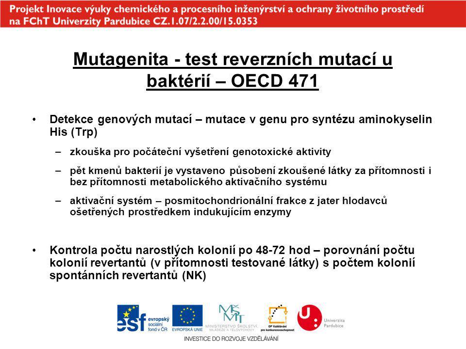 Mutagenita - test reverzních mutací u baktérií – OECD 471 Detekce genových mutací – mutace v genu pro syntézu aminokyselin His (Trp) –zkouška pro počá