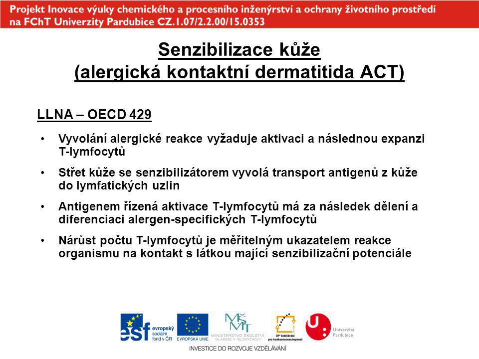 Senzibilizace kůže (alergická kontaktní dermatitida ACT) LLNA – OECD 429 Vyvolání alergické reakce vyžaduje aktivaci a následnou expanzi T-lymfocytů S