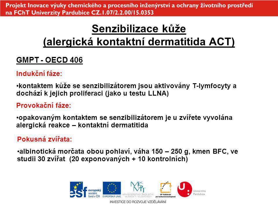 Senzibilizace kůže (alergická kontaktní dermatitida ACT) GMPT - OECD 406 Indukční fáze: kontaktem kůže se senzibilizátorem jsou aktivovány T-lymfocyty