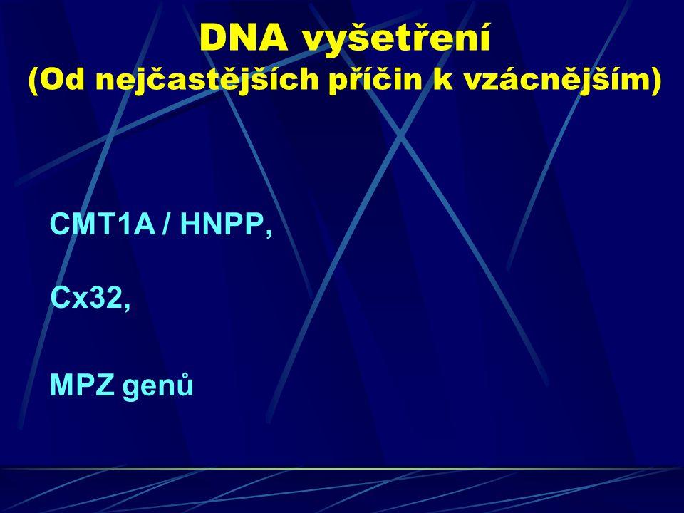 DNA vyšetření (Od nejčastějších příčin k vzácnějším) CMT1A / HNPP, Cx32, MPZ genů