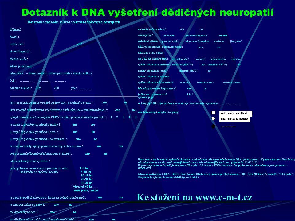 Dotazník k DNA vyšetření dědičných neuropatií Ke stažení na www.c-m-t.cz