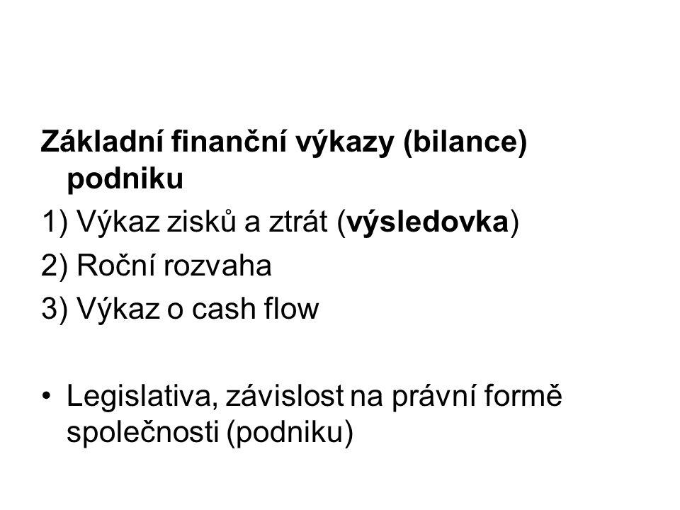 Základní finanční výkazy (bilance) podniku 1) Výkaz zisků a ztrát (výsledovka) 2) Roční rozvaha 3) Výkaz o cash flow Legislativa, závislost na právní