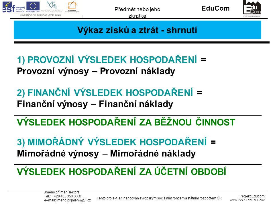 INVESTICE DO ROZVOJE VZDĚLÁVÁNÍ EduCom Projekt Educom www.kvs.tul.cz/EduCom/ Tento projekt je financován evropským sociálním fondem a státním rozpočtem ČR Předmět nebo jeho zkratka Jméno příjmení lektora Tel.: +420 485 35X XXX e–mail: jmeno.prijmeni@tul.cz Výkaz zisků a ztrát - shrnutí 1) PROVOZNÍ VÝSLEDEK HOSPODAŘENÍ = Provozní výnosy – Provozní náklady 2) FINANČNÍ VÝSLEDEK HOSPODAŘENÍ = Finanční výnosy – Finanční náklady VÝSLEDEK HOSPODAŘENÍ ZA BĚŽNOU ČINNOST 3) MIMOŘÁDNÝ VÝSLEDEK HOSPODAŘENÍ = Mimořádné výnosy – Mimořádné náklady VÝSLEDEK HOSPODAŘENÍ ZA ÚČETNÍ OBDOBÍ