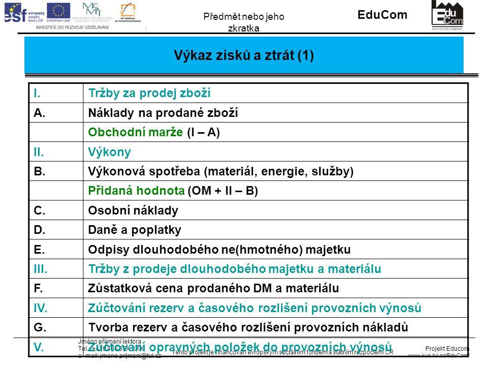 INVESTICE DO ROZVOJE VZDĚLÁVÁNÍ EduCom Projekt Educom www.kvs.tul.cz/EduCom/ Tento projekt je financován evropským sociálním fondem a státním rozpočtem ČR Předmět nebo jeho zkratka Jméno příjmení lektora Tel.: +420 485 35X XXX e–mail: jmeno.prijmeni@tul.cz Výkaz zisků a ztrát (1) I.Tržby za prodej zboží A.Náklady na prodané zboží Obchodní marže (I – A) II.Výkony B.Výkonová spotřeba (materiál, energie, služby) Přidaná hodnota (OM + II – B) C.Osobní náklady D.Daně a poplatky E.Odpisy dlouhodobého ne(hmotného) majetku III.Tržby z prodeje dlouhodobého majetku a materiálu F.Zůstatková cena prodaného DM a materiálu IV.Zúčtování rezerv a časového rozlišení provozních výnosů G.Tvorba rezerv a časového rozlišení provozních nákladů V.Zúčtování opravných položek do provozních výnosů