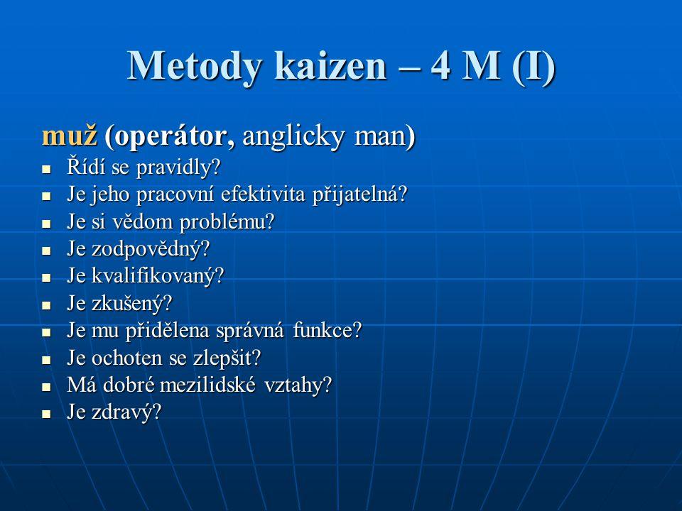 Metody kaizen – 4 M (I) muž (operátor, anglicky man) Řídí se pravidly? Řídí se pravidly? Je jeho pracovní efektivita přijatelná? Je jeho pracovní efek