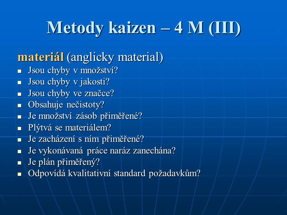 Metody kaizen – 4 M (III) materiál (anglicky material) Jsou chyby v množství? Jsou chyby v množství? Jsou chyby v jakosti? Jsou chyby v jakosti? Jsou