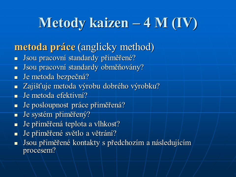 Metody kaizen – 4 M (IV) metoda práce (anglicky method) Jsou pracovní standardy přiměřené? Jsou pracovní standardy přiměřené? Jsou pracovní standardy